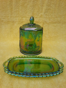 Green Carnival Glass Candy Jar; Oval Tray