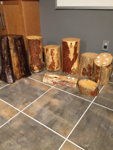 wood coasters, plant stands, end tables, tea light holders