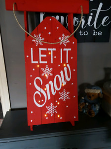 Led Lighted Wood Sled Indoor or Outdoor