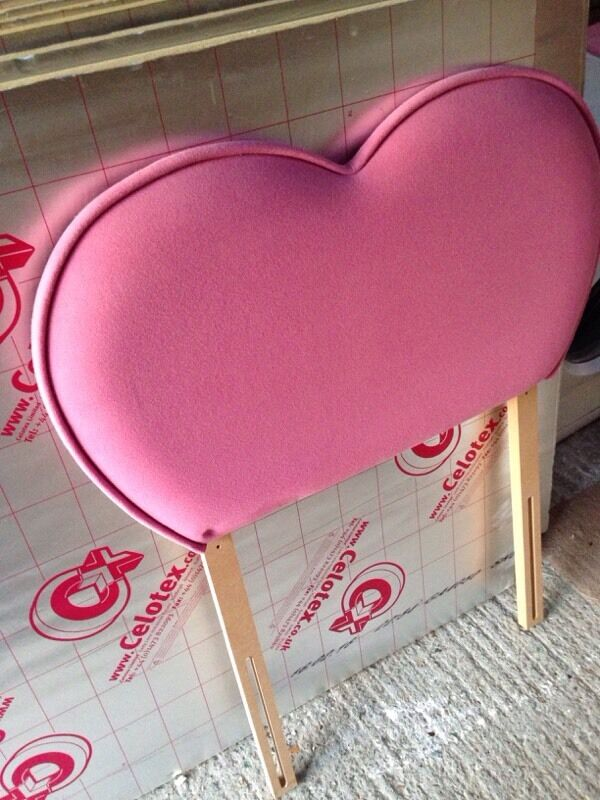 Divan bed base and pink love heart headboard in walmer for Divan bed base and headboard