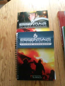 Firefighting text books and exam prep books.