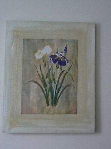 """Superbe œuvre pastel/carton marouflé 22x18"""" «Iris blanc et bleu» West Island Greater Montréal image 3"""