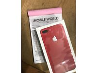IPhone 7 Plus 256gb Red sealed pack unlocked 12 month waranty