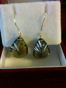 pair yellow gold Smokey quarts Earrings