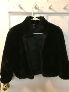 Black faux fur jacket, Size Small (5-6) $12.00.