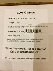 Brand new Roll Breathing Color Lyve Canvas-24inch X 40 feet