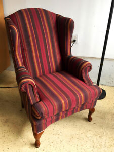 Beautiful SKLAR PEPPLER Winged Back Chair CANADIAN MADE-NICE!