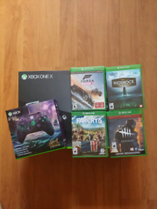 Xbox one x 1TB, games and sea of thieves controller