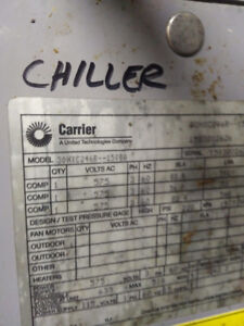 CARRIER WATER COOLED CHILLER 240 TONS -R-134A - 575/3/60