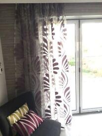 Voile curtains - new & unused - lilac/grey. Kobe Skimo fabric.