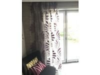 Voile curtains - new & unused - lilac/grey. Kobe Skimo fabric.