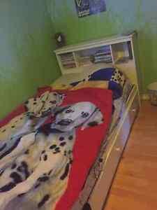 Twin captains bed with headboard and matress Sarnia Sarnia Area image 1