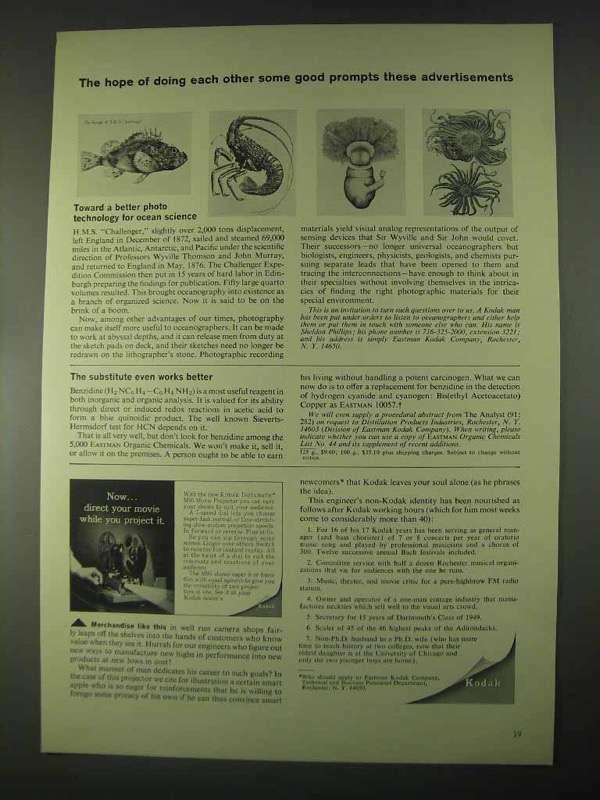 1967 Kodak Eastman Organic Chemicals Ad - Doing Good