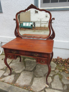 Fabulous Mahogany Antique (c1925) Vanity with Shaped Mirror