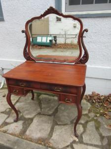 Fabulous Mahogany Antique (c1925) Vanity with Shaped Mirror