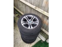 """Bmw 16 """" alloy wheels complete with tyres"""