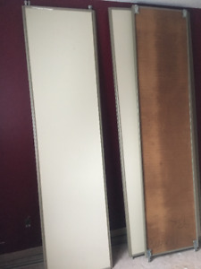"Metal framed closet doors two panels: 32"", 21.5"", 18"""