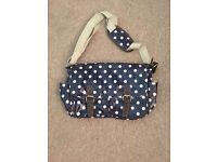 Cath Kidston style navy spot satchel bag