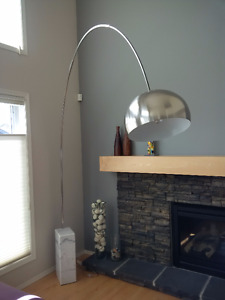 Modernist floor lamp with marble base