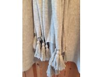 White Company large grey marl tassel scarf with silk
