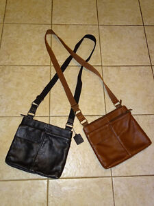 ROOTS Leather and Nylon Crossbody Messenger Purse Bag