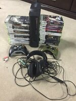 Xbox 360, Headset, 2 controllers, and 31 games