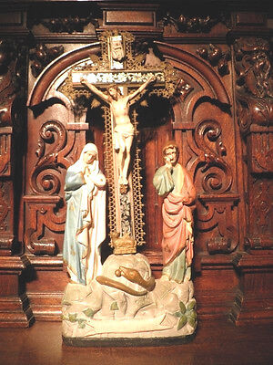 XL ANTIQUE COSUMMATUM EST PRIESTS ALTAR TABLE CHURCH CRUCIFIX