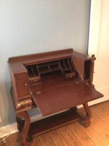 Antique writing desk with folding table