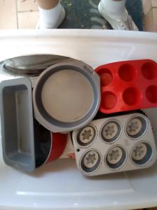 Box of cake tins, serving plates