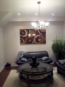5-Light Brushed Nickel Chandelier - like new condition