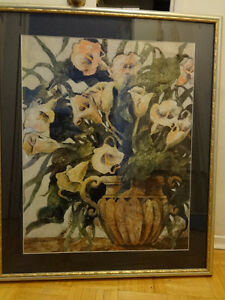 "Joyce H. KAMIKURA 24X30"" LITHO, framed Overall 32x38"" Original art Lithograph Print Floral Flowers Green subdued colors"