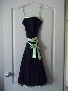 Ladies Black Dress w/Black Crinoline Underlay Lime Green Trim