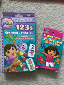 Dora The Explorer card games and rings lot