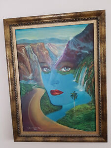 Peinture sur toile Regard yeux bleus mer bleu montagne chemin
