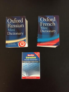 Assorted Dictionaries (French, Swedish and Russian) - $1/each