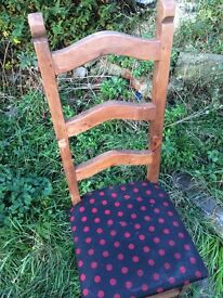 6 solid wooden high back chairs