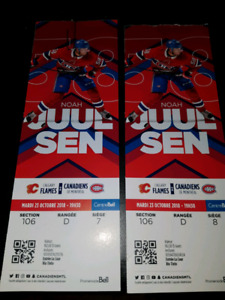 Billet pour match du canadien