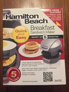 Hamilton Beach Breakfast Sandwich Maker - Never used.
