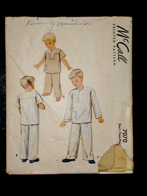 1940's Vintage McCALL #7070 BOY / GIRL 2-pc PAJAMAS Fashion DRESS PATTERN /Sz 3