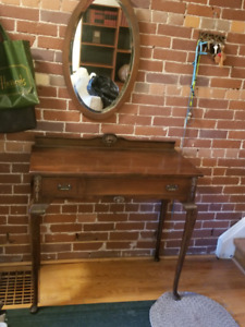 Antique Hand-crafted Hallway Vanity Table w/ Mirror