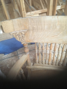 Presswood Rocking Chair with turned spindles Solid Oak