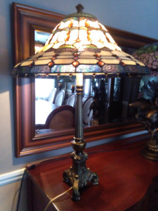 Large antique tiffany glass table lamp lampe