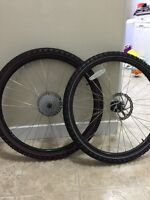 "Two Mountain Bike 21"" wheels with tires"