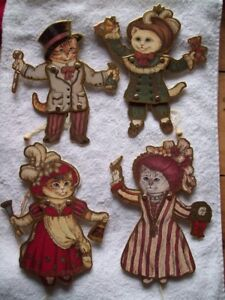 4 VINTAGE VICTORIAN REPRODUCTION MOVING CAT CHRISTMAS ORNAMENTS