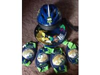Ben 10 Alien Force helmet, knee & elbow pads and backpack