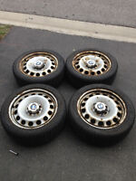 BMW E46 winter tires 205/50R17 with steel rims and OEM hubcaps