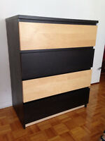 Malm Ikea 4 drawer chest, birch and Black