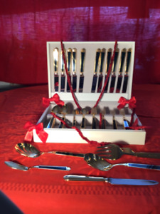 Beautiful Gold Plated Cutlery Set, Coutellerie plaquée or
