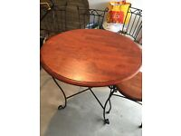 Wood and wrought iron dining table with 4 chairs