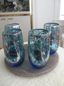 GORGEOUS WAFER-THIN COBALT BLUE with SILVER OVERLAY TUMBLERS